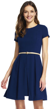 Short Sleeve Fit and Flare Dress with Split Skirt