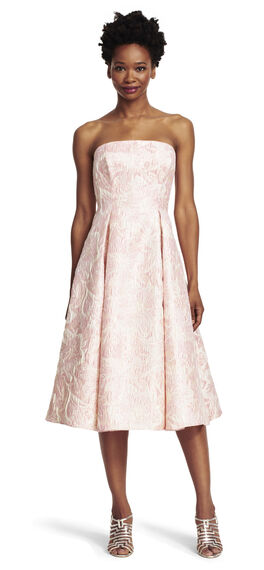 Strapless Metallic Jacquard Midi Party Dress