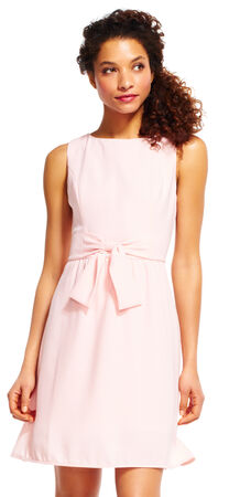 Sleeveless A-Line Dress with Bow Accent