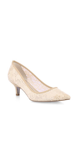 Vintage Inspired Wedding Dresses Lois Lace Kitten Heel Pump $119.00 AT vintagedancer.com
