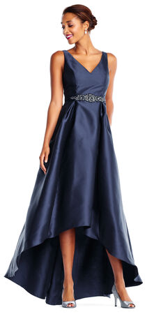 High Low Mikado Ball Gown with Beaded Waist