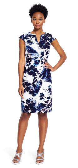 Printed V-neck Sheath Dress