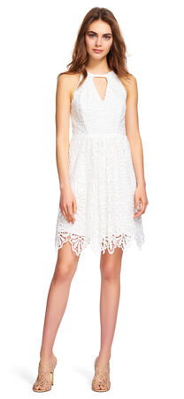 Lace Halter Fit and Flare Dress
