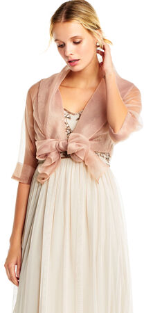 Organza Wrap Jacket with Short Sleeves