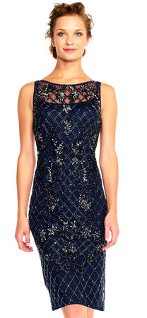 Netted Floral Beaded Sheath Dress with Illusion Neckline