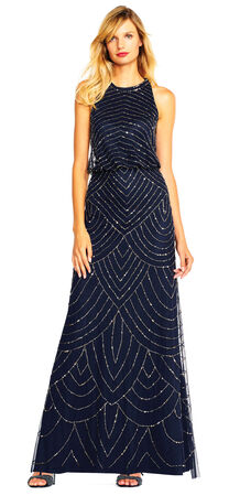 Art Deco Beaded Blouson Dress with Halter Neckline