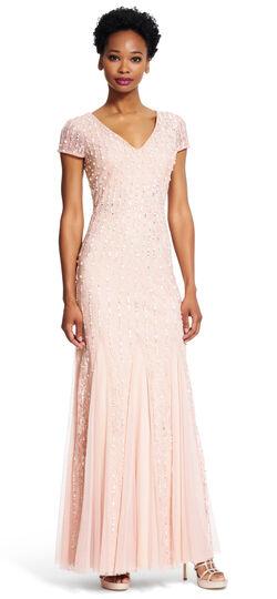 Short Sleeve V-neck Gown $369.00 AT vintagedancer.com