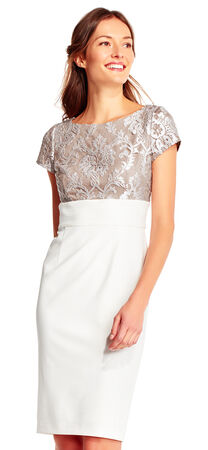 Short Sleeve Sheath Dress with Brocade Lace Bodice