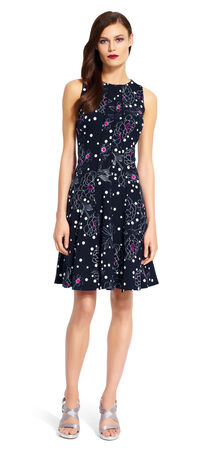 Floral Dotted Fit and Flare Dress