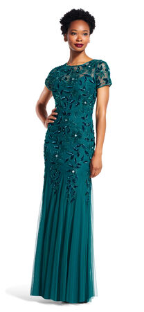 Floral Beaded Godet Gown with Short Sleeves