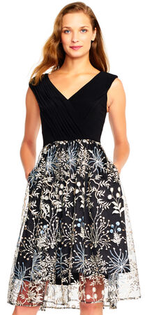 Floral Embroidered Fit and Flare Dress with Draped Jersey Bodice