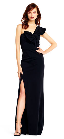 1940s Formal Dresses History One Shoulder Crepe Gown with Bow Accent $295.00 AT vintagedancer.com