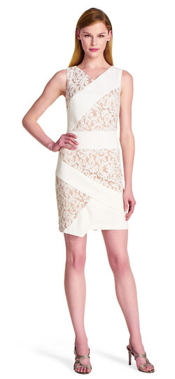 Mixed Media Lace and Crepe Dress