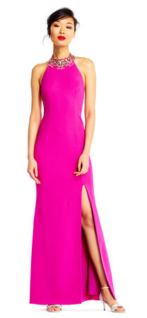 Crepe Halter Mermaid Dress with Jeweled Neckline