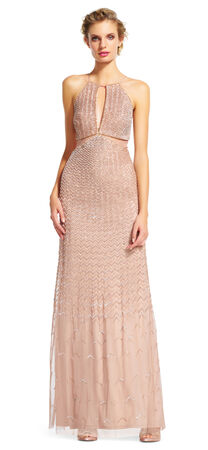 Beaded Halter Dress with Illusion Waist and Back