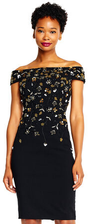 Floral Beaded Off The Shoulder Cocktail Dress