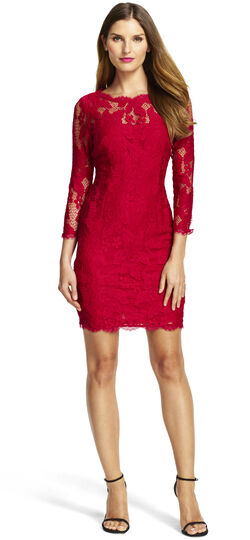 Long Sleeve Lace Cocktail Dress with Illusion Neck