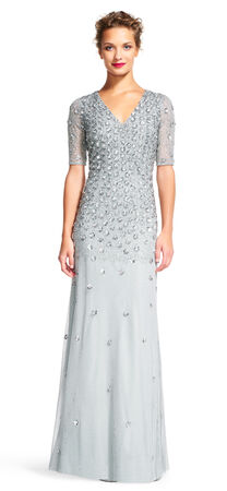 3D Floral Sequin Dress with Sheer Sleeves