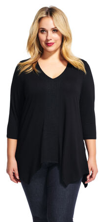 Three Quarter Sleeve Hanky Top with Embroidered V-Neck