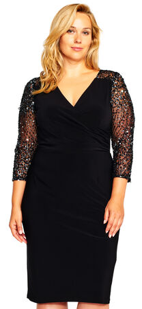 Jersey Dress with Sheer Sequin Three Quarter Sleeves