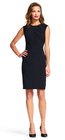 Crepe Sheath Dress with Pleated Neckline