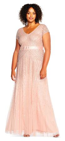Beaded V-Neck Gown
