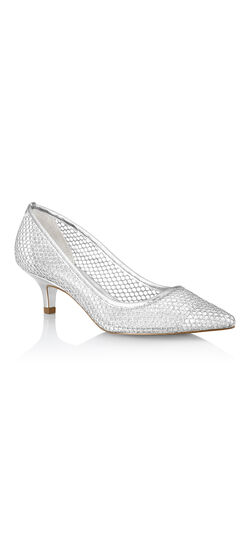 Vintage Style Wedding Shoes, Boots, Flats, Heels Lois Glittery Mesh Kitten Heel $119.00 AT vintagedancer.com