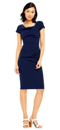 Cowl Neck Draped Sheath Dress