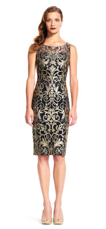 Sleeveless Metallic Scroll Embroidered Sheath Dress
