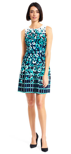 Watercolor Print Crepe Fit and Flare Dress
