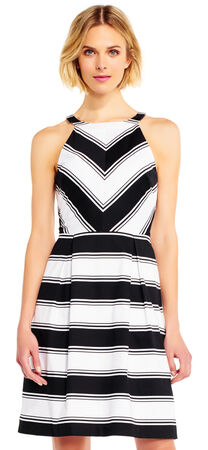 Contrast Stripe Print Halter Fit and Flare Dress