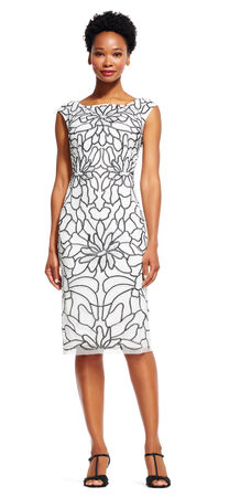 Floral Embroidered Sheath Midi Dress
