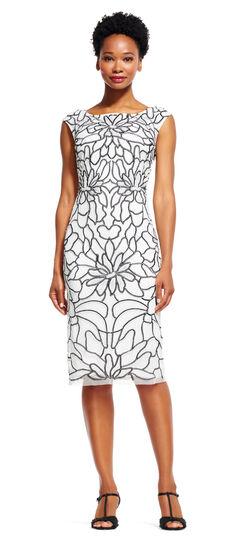 Floral Embroidered Sheath Midi Dress