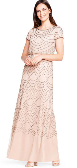 10 Downton Abbey Style Dresses Short Sleeve Beaded Blouson Gown $209.00 AT vintagedancer.com