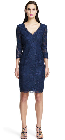 Corded Lace Sheath Dress with Scalloped Neckline