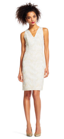 Embroidered Sheath Dress with V-Neckline