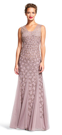 Scale Beaded Godet Gown with Sheer Neckline