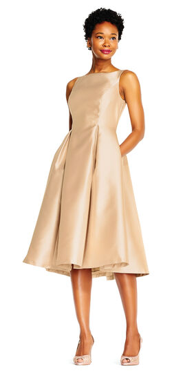 Sleeveless Mikado Fit & Flare Midi Dress