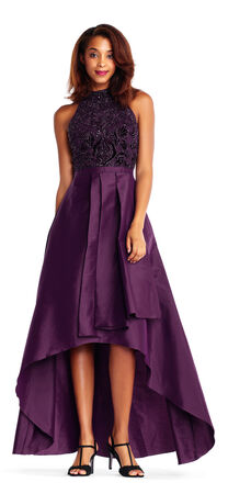Taffeta High Low Ball Gown with Mock Neck Beaded Bodice