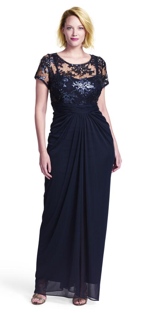 Sequin Lace Bodice Drape Tulle Gown