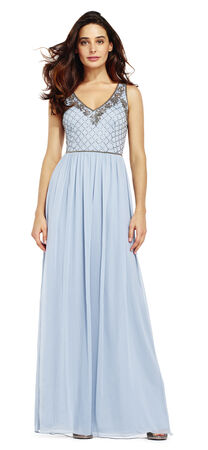 Beaded Chiffon Gown with Floral Beaded Neckline