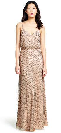Art deco blouson beaded gown