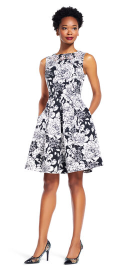 Sleeveless Floral Fit and Flare Dress with Jeweled Neckline