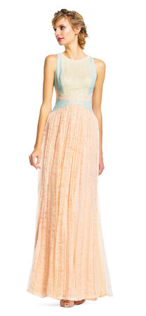 Sleeveless Colorblock Chantilly Lace Dress with Pleated