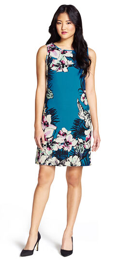 Tropical Print Crepe Shift Dress