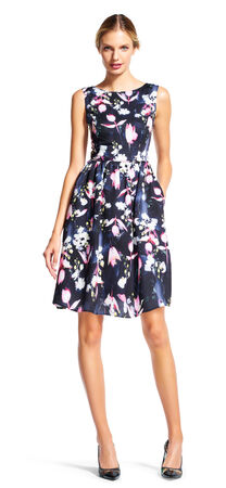 Sleeveless Floral Fit and Flare Dress with High Neckline