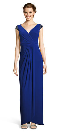 Draped Jersey Wrap Gown with Beaded Cap Sleeves