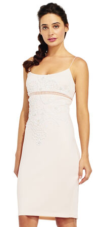 Floral Beaded Sheath Dress with Sheer Inset