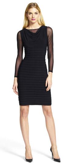 Mesh Underlay Blouson Banded Dress