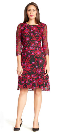 Floral Embroidered Mesh Sheath Dress